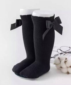 Kniekousen met strik ( zwart )