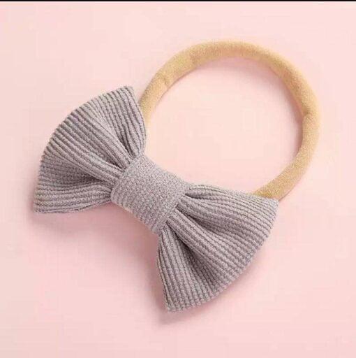 Haarband met strikje grijs