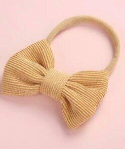 Haarband met strik Mosterdgeel