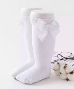 Kniekousen met strikjes wit